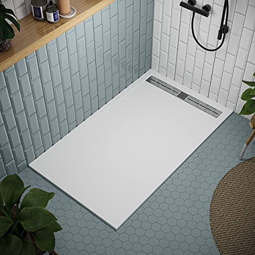 Shower Tray 700 x 1700 Stone Resin Tiber - Anti Slip and Low Profile - Matte Finish and Smooth Texture - All Sizes Available - Shower Waste and Stainless Steel Grid Included - White RAL 9003