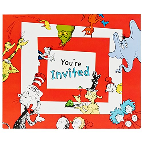 Dr Seuss 1st Birthday Party Supplies - Invitations (8)