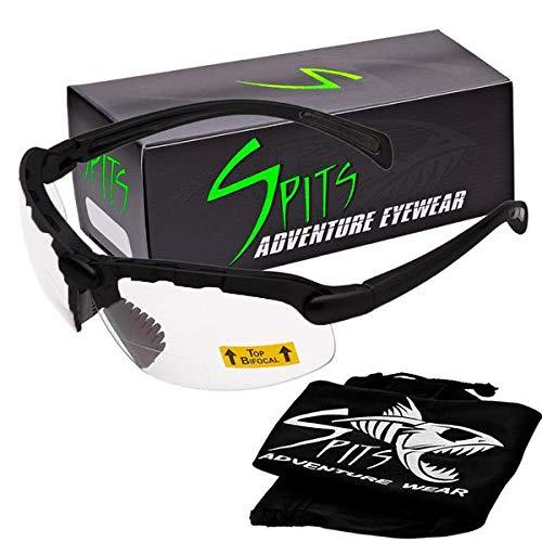 Spits Eyewear Hunting Top Focal OR Bottom Bifocal Shooting Safety Glasses, Black Frame, Various Lens Options (Clear Lenses, 1.75 Top Focal)