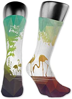 Socks Cute Africa,Modern Design Flamingo Figures in Digital Art with Polygonal Featured Shadow Effects,Multicolor,socks for toddler boys non skid