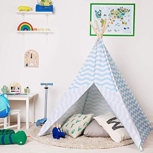 boppi Tipi Tienda Infantil Grande De Juego para Jardin O Interior De Madera Y Lona- Azul