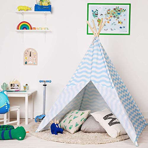 boppi Teepee Canvas Kids Large Outdoor and Indoor Portable Indian Wigwam Childrens Playhouse Play Tent Boys - Blue