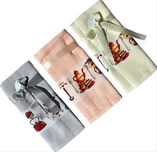 N' Altıntas - Toallas de cocina, 17 x 66 cm, absorbentes para cocina, toallas de secado y limpieza, 100% algodón tejido de waffles, multiusos y decorativo para el hogar, súper suave (rosa)