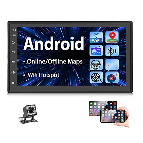 Double Din Android Car Stereo Radio with Bluetooth GPS 7 Inch HD Touchscreen in-Dash Headunit FM Radio Receiver Support WiFi Dual USB Android/iOS Mirror Link + Backup Camera
