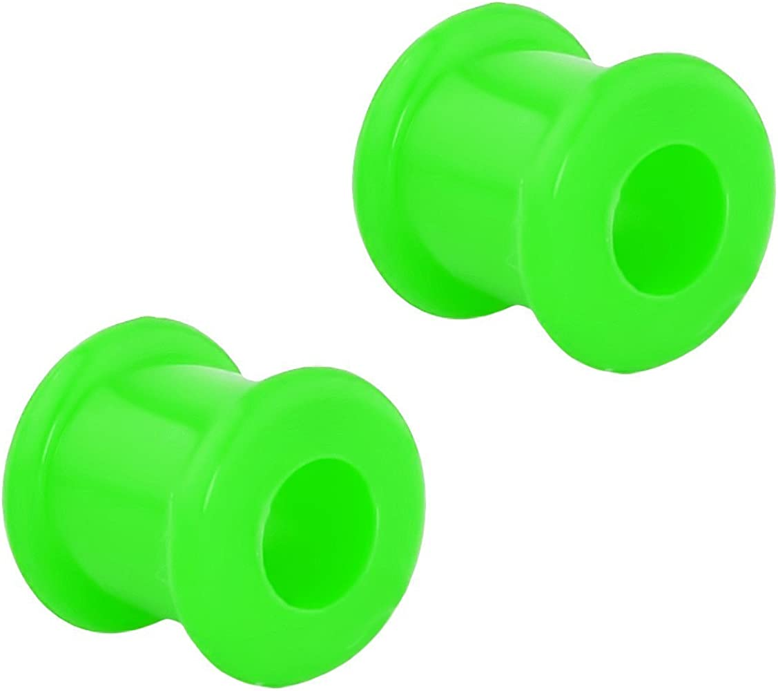 Forbidden Body Jewelry Set of 0G Ultra Soft Comfort Fit Silicone Ear Gauges, 0 Gauge 8mm Flat Double Flared Tunnel Plug Earrings