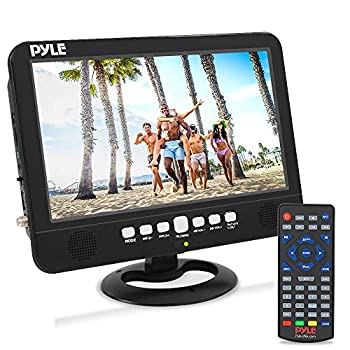 Pyle PLTV1053 10 Inch Portable Travel Smart Wireless Car Widescreen TV with Remote Control Rechargeable Battery and Dual Stereo Speakers Black