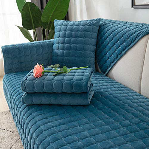 3 Plaza Funda de Sofá Elástico Cubierta,Cojín de Felpa Corto para sofá, Funda de sofá de Felpa de Cristal-Azul B_90 * 240cm,Funda sofá Duplex
