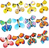 12 Pieces Magic Fairy Flying Butterfly Rubber Band Powered Wind up Butterfly Toy Card Surprise Gift for Party Playing Playing Festivals and Birthdays