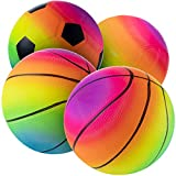 Bedwina Rainbow Sports Balls - 6 Inch (Pack of 4) Inflatable Vinyl Balls for Kids and Toddlers Includes Neon Basketball, Soccer Ball, and Volleyball for Playground, Indoor and Outdoor Use