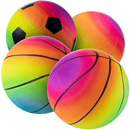 Rainbow Sports Balls  6 Inch Pack of 4 Inflatable Vinyl Balls for Kids and Toddlers Includes Neon Basketball Soccer Ball and Volleyball for Playground Indoor and Outdoor Use by Bedwina
