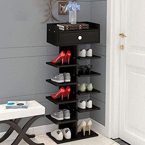 ZAIHW Zapatero Multicapa Espacio Hogar Familiar Imitación Madera Maciza Zapatero Puerta del Dormitorio Zapatero Estante 24x40x92.5cm Taburete para Cambiar Zapatos (Color: Negro)