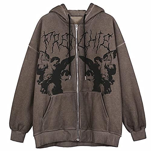 Sudadera con capucha y cremallera para mujer Y2k gótico con estampado de esqueleto, chaqueta con bolsillo, Marrón 5, XL