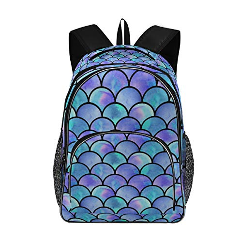 Laptop Backpacks for Women Men - Watercolor Rainbow Scales Mermaid Large Bookbag Fit 17 Inch Computer Bookbag for School Business Travel Swimming