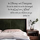 BeStrongandCourageous.DonotbeAfraid forTheLordYourGodWillbe with You WhereverYougo.Wall Decal Sticker, DIY Vinyl Verses Bible Prayer Wall Decor. Inspirational Quote Stickers