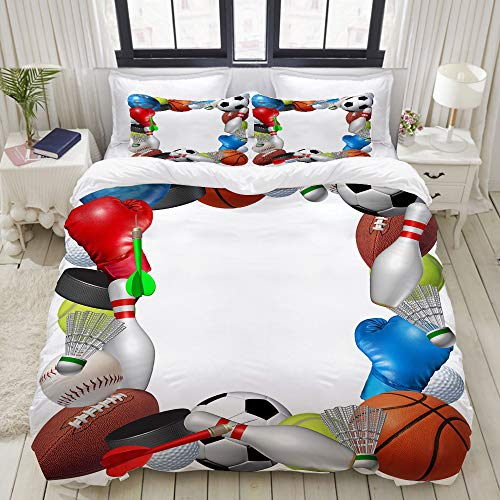 YOUMEISU Bedding Duvet Cover Set - sport equipment from basketball boxing golf bowling tennis badminton football soccer ice hockey - Brushed Microfibre Duvet Cover with Pillowcases-Double(200*200cm)