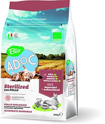 Adoc Dry Line Sterilized BIO con Pollo per gatti sterilizzati, confezione da 8 pezzi