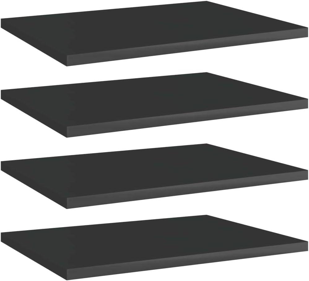 Vevelux Bookshelf Boards service 4 pcs Memphis Mall Black Gloss High 15.7
