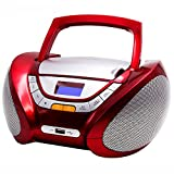 Lauson Radio CD Portatile USB | Lettore Cd per Bambini | Stereo Radio FM | Boombox Con Pratica Maniglia | CD/MP3 Player Portatili| AUX IN | LCD-Display (Rosso)