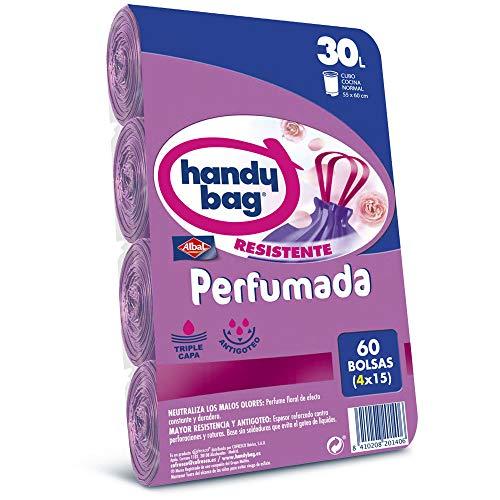 Handy Bag Bolsas de Basura 30L, Extra Resistentes, Perfumadas, 60 Bolsas