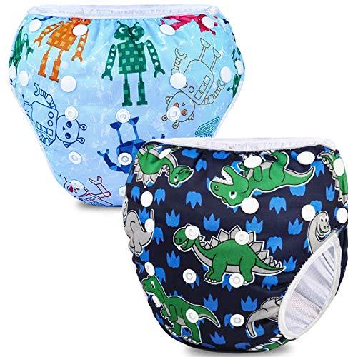 Riutilizzabile Pannolini da nuoto (Confezione da 2), Costume Pannolino Lavabili, Impermeabile Pannolino Piscina (0-3 anni), Robot + Dinosauro
