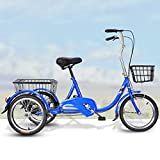 Tricycle Adult Bike,Tricycles Trikes 20 Inch 3 Wheel Bikes, Three-Wheeled Bicycles High Carbon