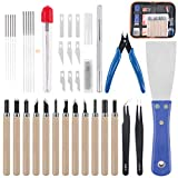 Rustark 34 Piece 3D Printer Accessories Tool Kit Cleaning Needles, Tweezers, Pliers, Scarp...