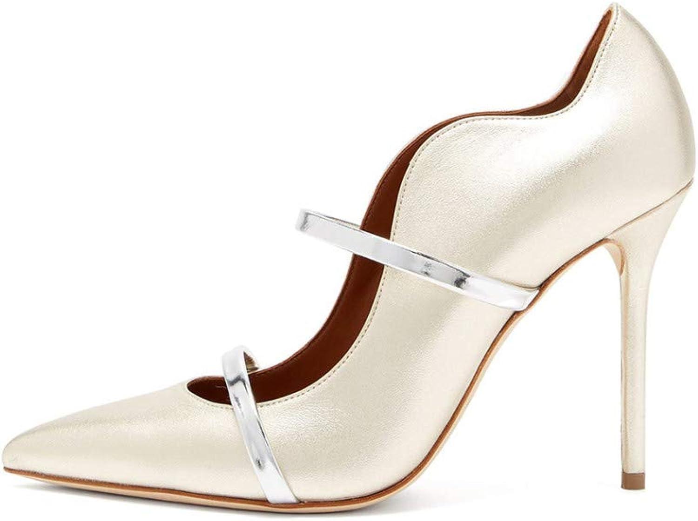 YOJDTD Schuhe Damenschuhe Sandalen Sandalen mit hohem Absatz Damen-Einzelschuhe, wei, 46