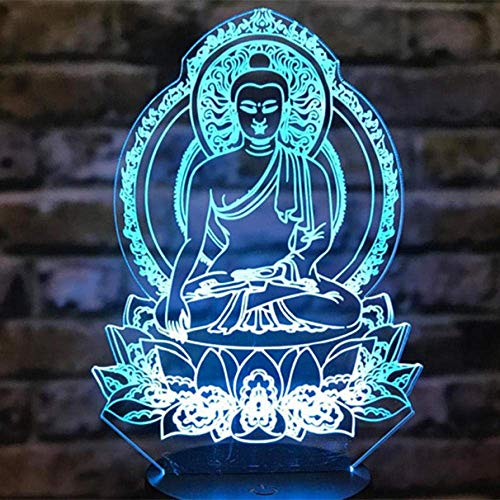 3D Nachtlicht Sakyamuni Buddha 3D Illusion Lampe Touch Led Nachtlicht Bunte Tischlampe