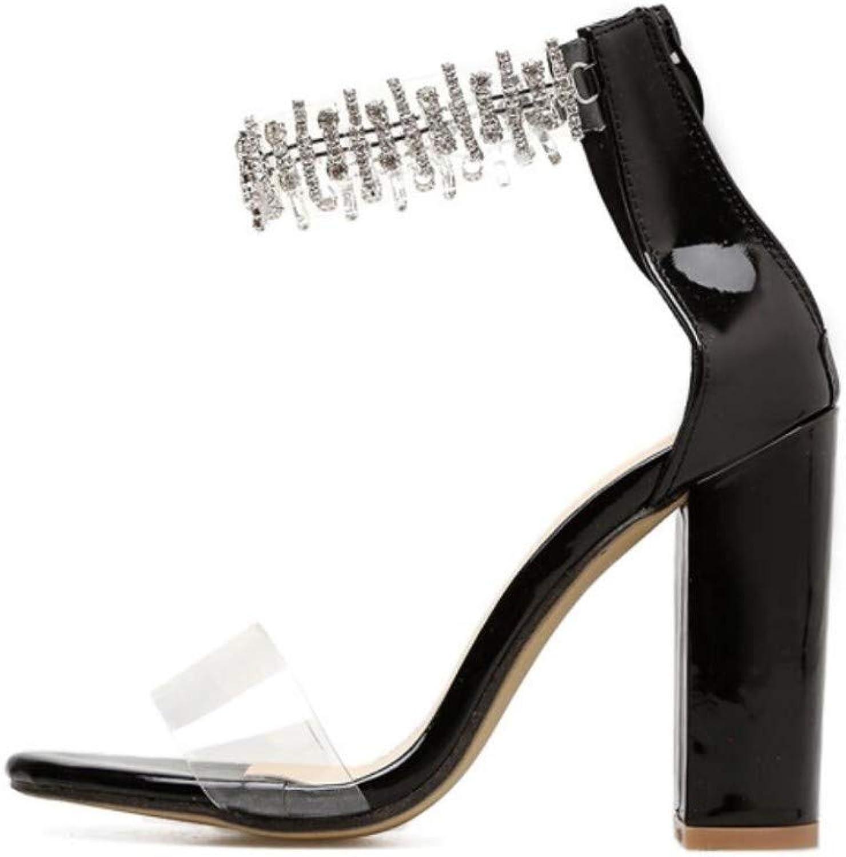 JQfashion Women's High-Heeled Sandals Transparent Sexy Roman shoes Diamond Thick Heels
