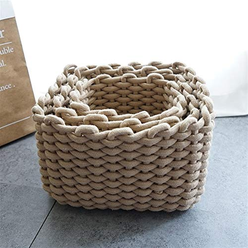 DNAMAZ Basket Quality Hand-woven Storage Baskets Nordic Thick Cotton Rope Practical Sundries Cosmetic Home Office Desktop Decoration Organizer storage (Color : 3, Size : 5)
