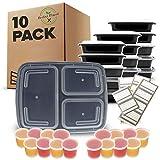 Lot de 10 Boîtes à Repas 3 Compartiments avec Couvercles Hermétiques Sans BPA - Compatible Micro-onde et Lave-vaisselle - Réutilisable, Transportable et Empilable
