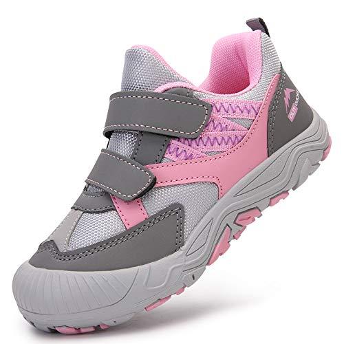 Acfoda Mädchen Outdoor Trekking Wander Schuhe Kinder mit Klettverschluss Leichte rutschfeste Halbschuhe Sommer Sport Freizeit Sneaker Walking Hiking Bergschuhe Low Top Grau 36