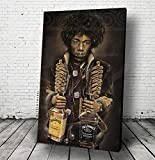 JEREMY WORST'Jimi's Jack' Jimi Hendrix Poster or Canvas Jack Daniels Wall Art On Stage performing Guitar gifts | Ready Print | Live band legendary performance Jacket coat scarf pick to Hang