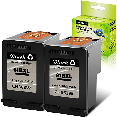 GREENCYCLE Remanufactured 61XL CH563WN High Yield Black Ink Cartridge Compatible for HP DESKJET 1000 1050 1512 2050 2548 3054 OFFICEJET 2620 4632 Envy 5534 4501 5532 Printer (Black,2 Pack)