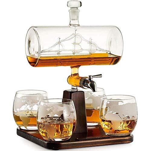 Juego de decantadores de Whisky de Cristal - 1000 ml Decantador de Buque con tapón de Vidrio, 4 Gafas de Globo Grabado y Soportes para Licor, escocés, Borbón, Vodka