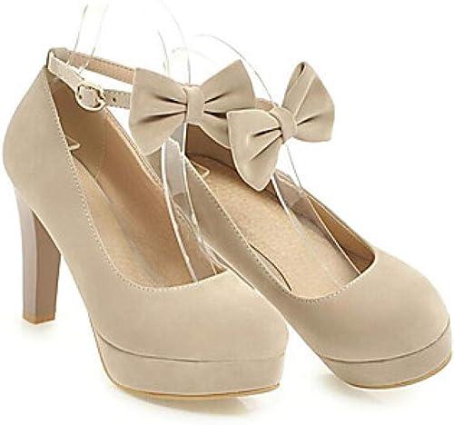 Weier. Ben Chaussures à Talons pour Femmes Chunky Heel PU (Polyurethane) Spring Noir Beige Rouge Chaque Jour@Beige_US8.5   EU39   UK6.5   CN40