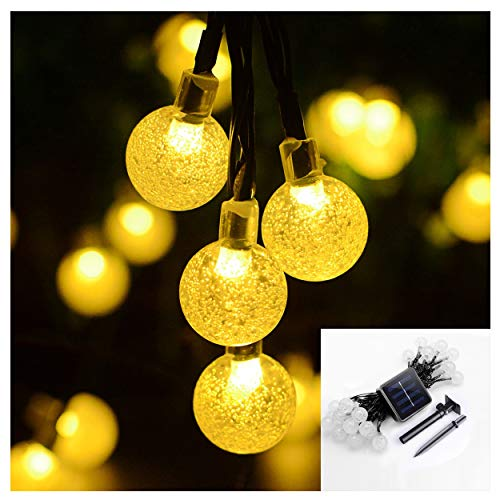 YESSW Solar Globe Outdoor String Lights 21ft 30 LED Solar Lights 2 Modes Crystal Ball String Light for Yard Patio Garden Pergola Bistro Party decorations