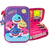 Pencil Case for Boys, 3D Cute EVA Shark Pen Pouch Stationery Box Anti-Shock Large Capacity Multi-Compartment for School Students Teens Kids Girls Boys