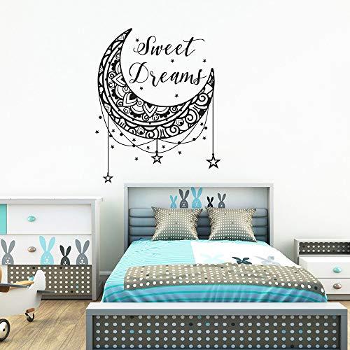 Crjzty Sweet Dreams Wandtattoo Sterne und Mond Kinderzimmer Dekor Sweet Dreams ZitateWandaufkleberKinderzimmer Dekoration Tapete42x52cm