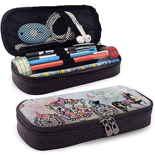 Floral Carriage Butterfly PU Leather Pen Pen Bag 20 * 9 * 4 cm (8X3.5X1.5 Inches) Pouch Case Holder College Coin Purse Cosmetic Bag