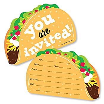 Big Dot of Happiness Taco 'Bout Fun - Shaped Fill-in Invitations - Mexican Fiesta Invitation Cards with Envelopes - Set of 12