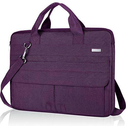 Landici 360 Protective 14-15.6 inch Laptop Bag Sleeve with Shoulder Strap, Waterproof Computer Case Cover Compatible with MacBook Pro 16, Surface Book 3, XPS 15, Asus Acer Hp Chormebook-Purple