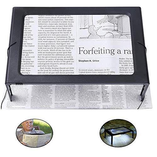 Lupa de lectura, Lupa con 4 Luz LED - 3X Aumentos Lupa A4 Plegable Rectangular - Lupa de Manos Libres con Soporte y Cordón - para Libros, Ancianos, Baja Visión, Costura