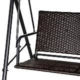 Outsunny Rattan Hollywoodschaukel, 2-Sitzer Gartenschaukel, Schaukelbank, Verstellbares Sonnendach, Stahlrahmen, Schwarz 140 x 110 x 151 cm - 8