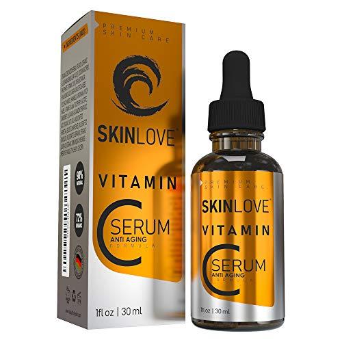 30% vitamine C serum met hyaluron, vitamine E, jojoba-olie, hooggedoseerd, anti-rimpel gezichtsserum, natuurlijke ingrediënten | parabenvrij | veganistisch | made in Germany | Skinlove®
