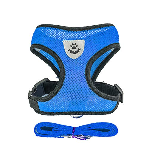 SYJF,Pet Harness Dog Leash Puppy Vest Collar Cat Chihuahua Pug Bulldog,Pet Supplies(M,Blue)