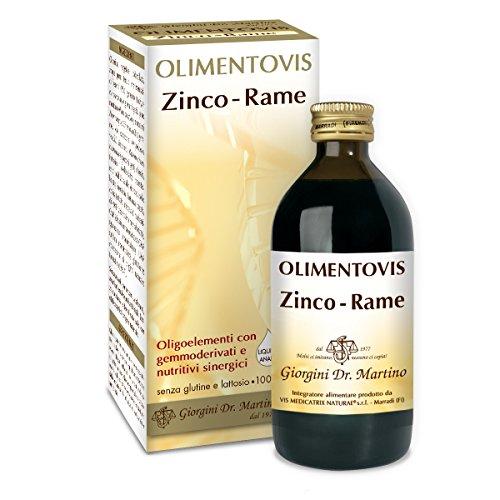 Dr. Giorgini Integratore Alimentare, Zinco Rame Olimentovis Liquido Analcoolico - 200 ml