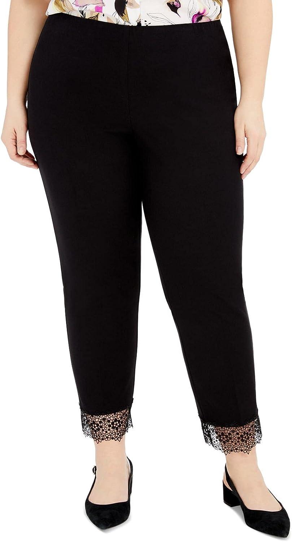 Alfani Womens Plus Lace Trim Work Wear Skinny Pants