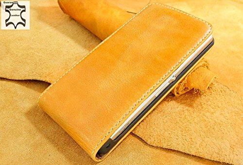 Urcover Akira Hand Made [Echt Leder] Handyhülle kompatibel mit Sony Z1 Compact Cover Handgemacht Case Schutzhülle Etui Flip Wallet Pen Hell Braun