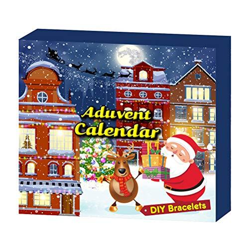 WBTY 2020 Advent Calendar Charms Bracelet Set Elk DIY Christmas Countdown Calendar Bracelet Christmas Countdown Gift Set for Kids Adults